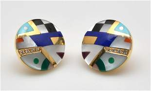 Pair of 14K yellow gold Asch Grossbardt earrings