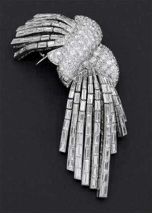 Pierre Sterlé Platinum & Diamond Double Clip Brooch