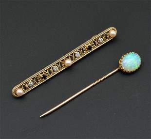 14k Yellow gold bar pin and fire opal stick pin