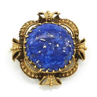 18k Yellow gold and lapis brooch