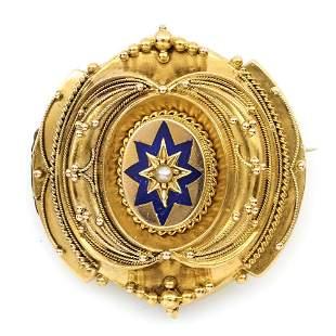 14k, enamel, & seed pearl Victorian memorial brooch