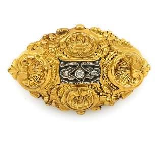 18k Yellow gold, enamel and diamond Victorian brooch