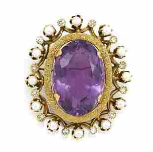 14k Yellow gold, amethyst, diamond, pearl brooch