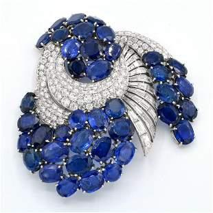 Important Sapphire, Diamond & Platinum Brooch