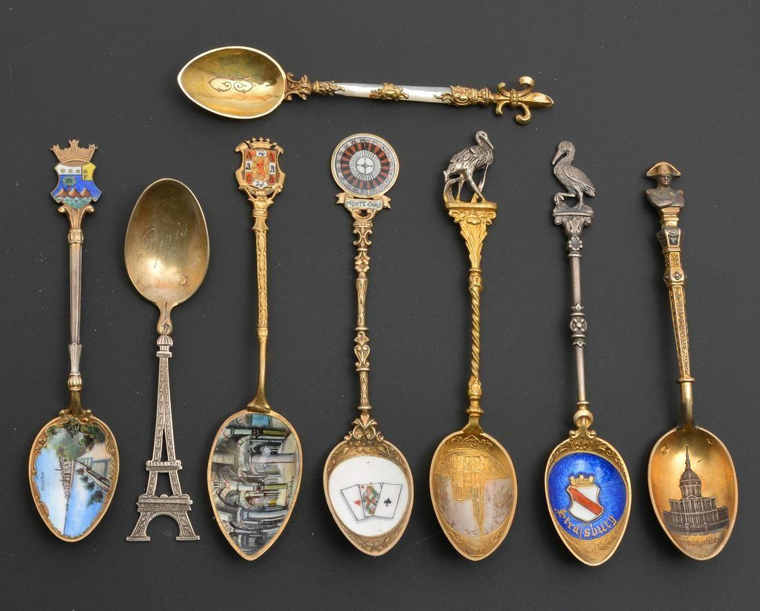 8 silver souvenir spoons, France, Spain, Monaco
