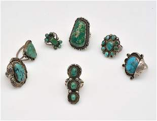 7 turquoise and agate silver rings