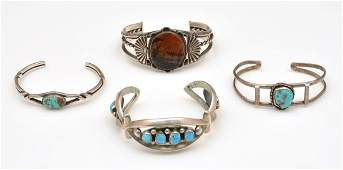 4 Native American cuff bracelets, turquoise and agate