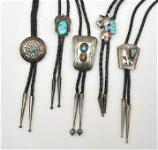 5 bolo ties incl. Navajo and Zuni