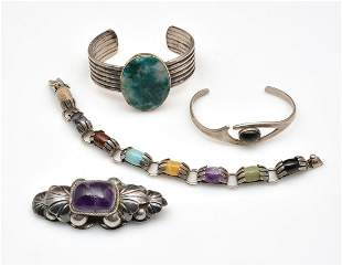 Mexican jewelry, sterling silver and colored stones