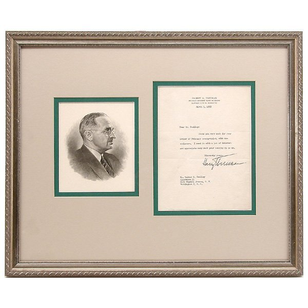 1: President Harry Truman Autographed Letter, 1955