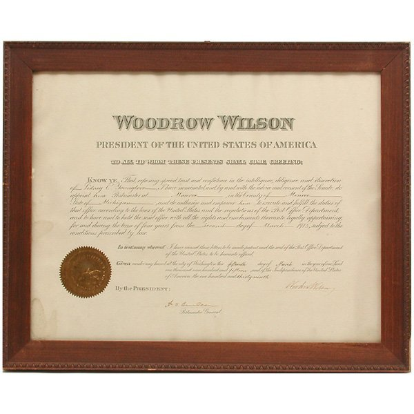 2: President Woodrow Wilson Autographed Document
