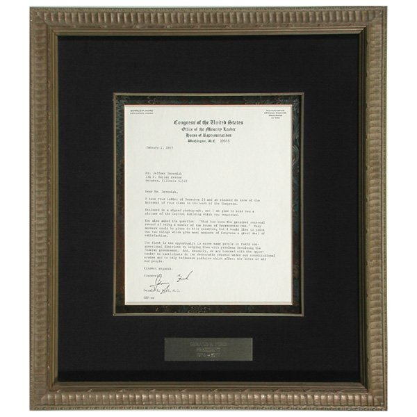 3: Autographed Letter, President Gerald R. Ford, 1969