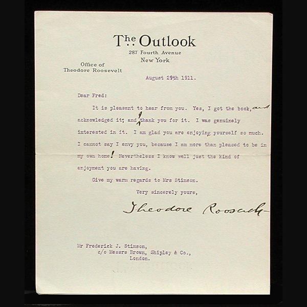 4: President Theodore Roosevelt Signed Letter, 1911