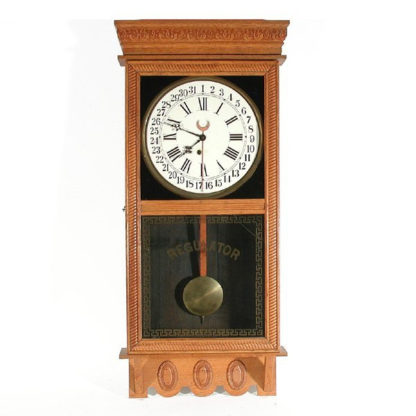 9: Oak Cased Regulator Wall Clock