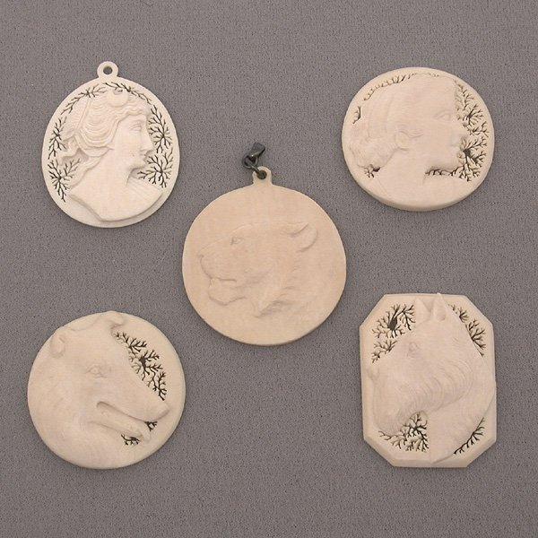 "13: 5 American Carved Ivory ""Cameo"" Pendants"