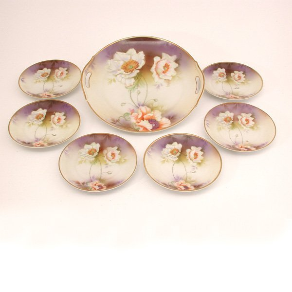 16: German Porcelain Dessert Set, Poppies