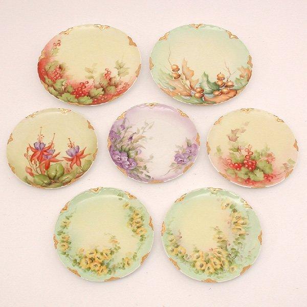 17: 7 Pc. Limoges Porcelain Dessert Set, Hand Painted