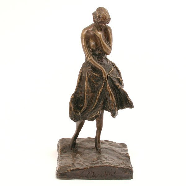 21: French Bronze Sculpture, L'Occident, Signed