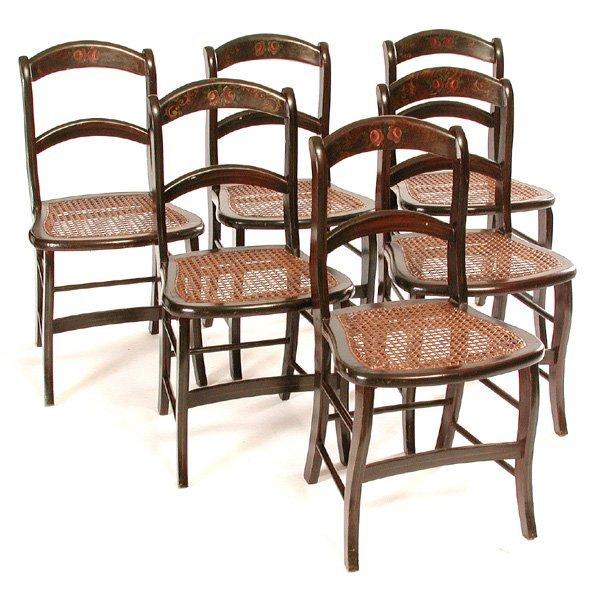23: 6 19th. C. American Faux Painted Cottage Chairs