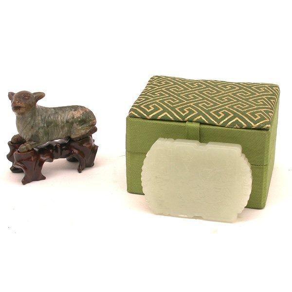 316: Qing Dynasty Jade Carvings, Pendant & Ram