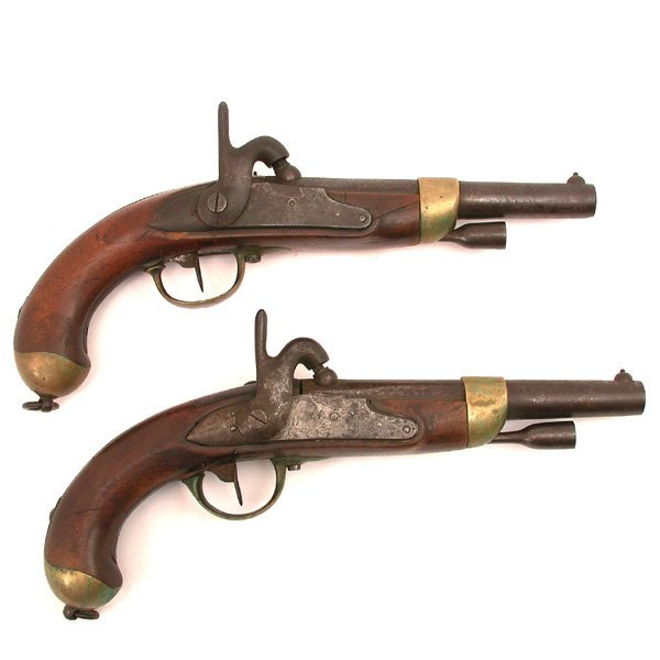 7: Two French Percussion Pistols, Model 1822