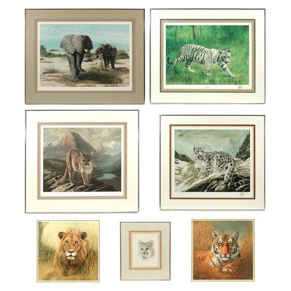 21: Seven Framed Wildlife Prints by Charles Frace