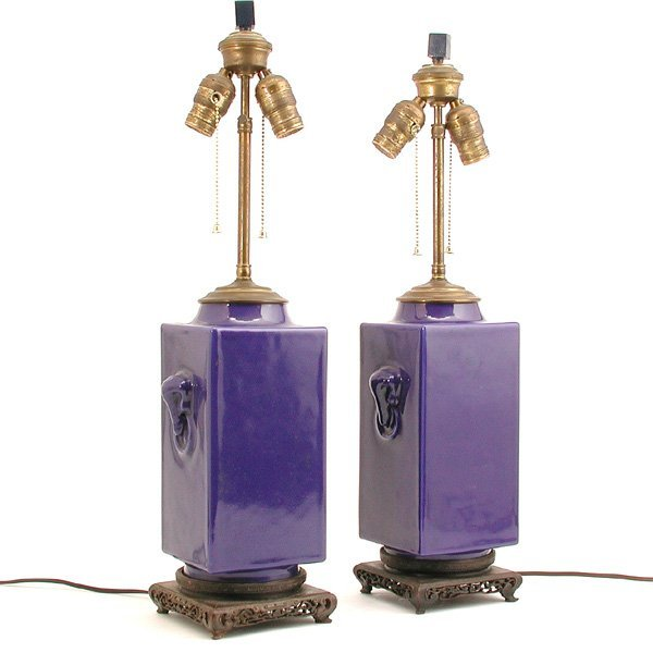 331: Pair of Chinese Blue Glaze Lamps, 1940s