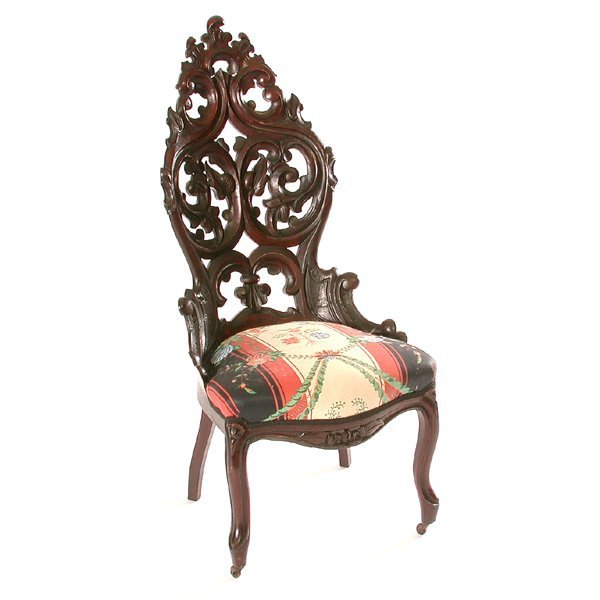 7: Victorian Rococo Carved Walnut Chair