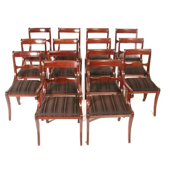 21: Set of Fourteen Regency Style Mahogany Chairs