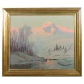 464: Sydney Laurence, Mt McKinley Sunset Painting