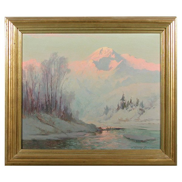 464: Sydney Laurence, Mt McKinley Sunset Painting
