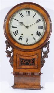 Victorian 19th c Walnut Wall Clock