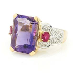 14k gold, emerald-cut amethyst, ruby & diamond ring