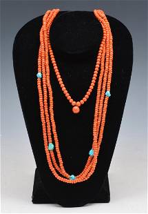 Native American Coral & Turquoise Necklaces