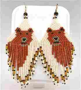 Pair of Native American beaded bear earrings