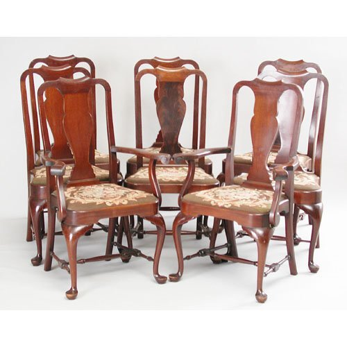 19: Set Of Eight Queen Anne Style Chairs.