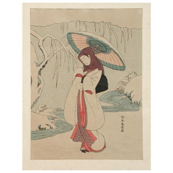 Suzuki Harunobu Woodblock Print, White Heron