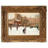 436: Luigi Loir Painting La Place du Delta par la Neige