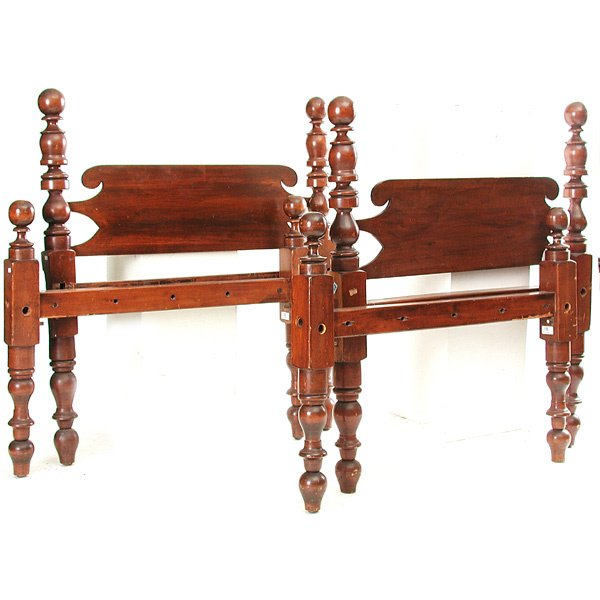 48: Pair of Mahogany Cannonball Twin Beds