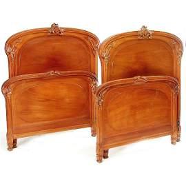 738: Pair French Art Nouveau Bed Frames