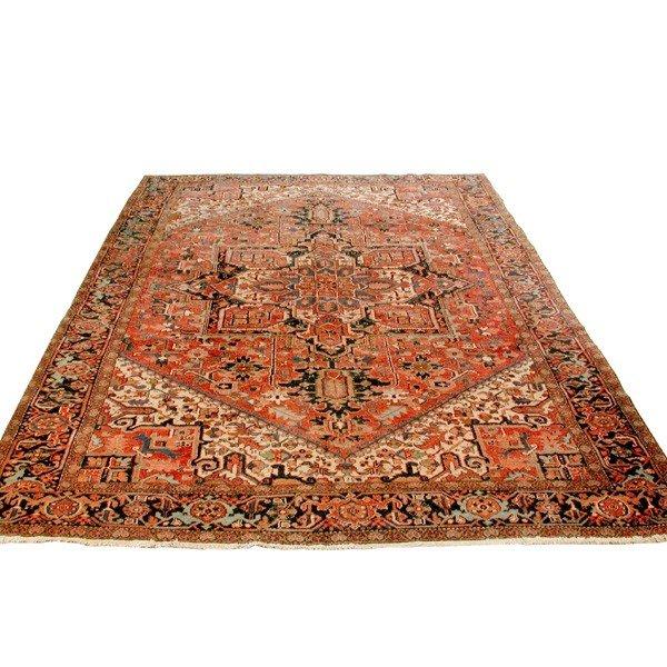 "11: Antique Heriz Carpet, 12' 6"" by 8' 8"""