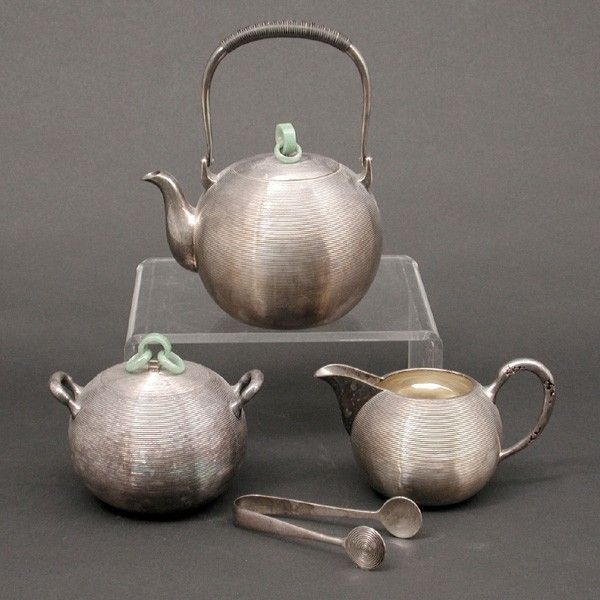 95: 3pc Chinese Export Sterling Silver Tea Service