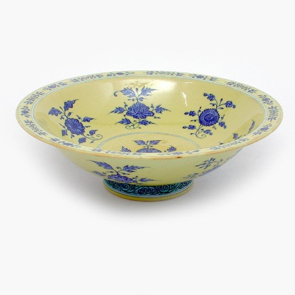 415: Blue & White Yellow Ground Bowl, Period Qianlong M