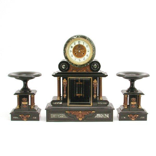8: French Wegelin Mantel Clock and Garniture Set