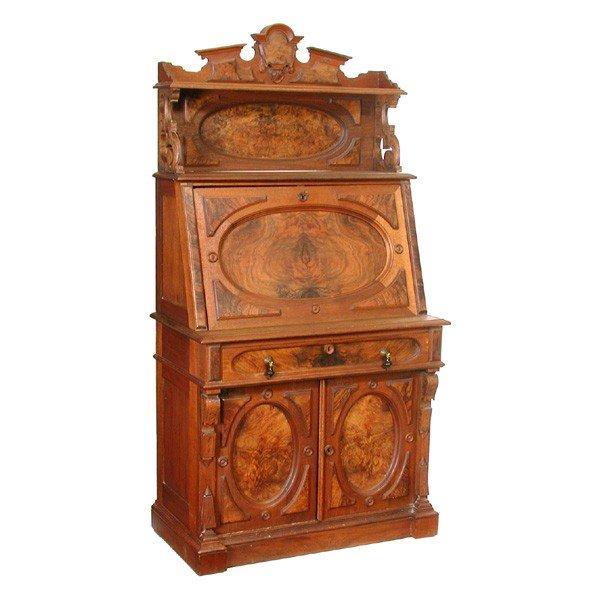 13: American Victorian Lady's Drop Front Walnut Desk