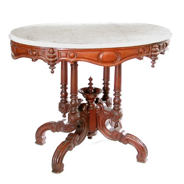 23: American Victorian Marble Top Parlour Table