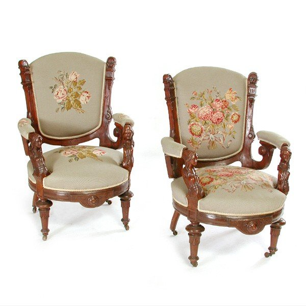 24: Pair of American Victorian Jelliff Armchairs