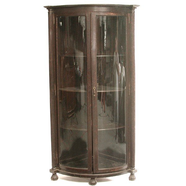 5: Victorian Oak Corner China Cabinet, original finish.