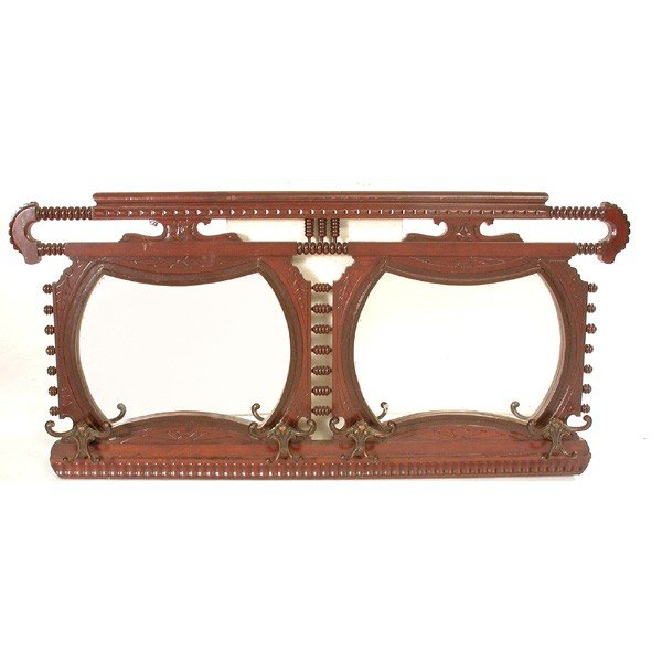 8: Victorian Eastlake Style Hall Mirror, Hooks