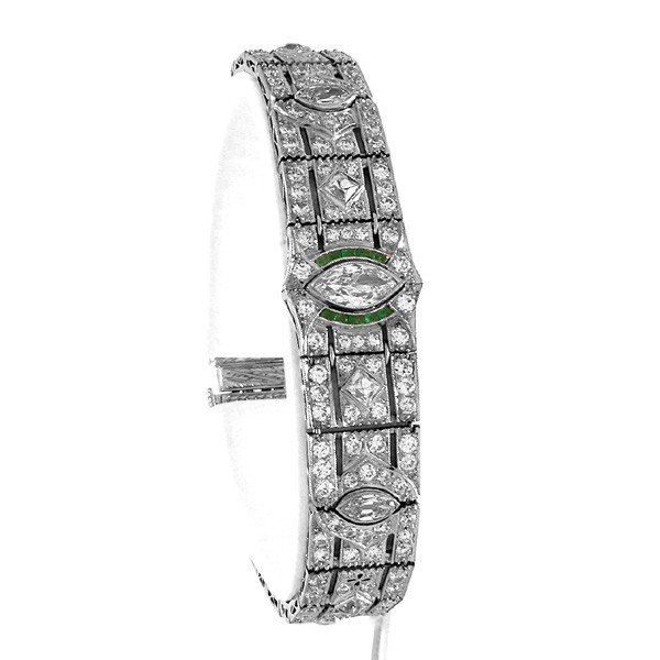 181: Art Deco Platinum, Diamond & Emerald Bracelet
